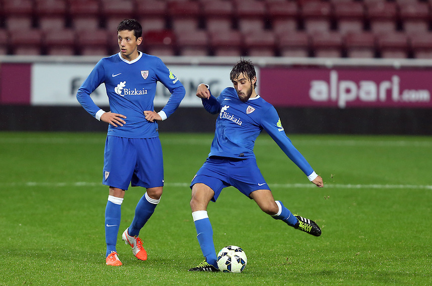 Bilbao Athletic's Jorge Luis Garcia scores his sides fourth goal <br /> <br /> Photographer Kieran Galvin/CameraSport<br /> <br /> Football - Barclays U21 Premier League International Cup - West Ham United U21 v Athletic Bilbao U21 - Wednesday 15th October 2014 - Boleyn Ground - London<br /> <br /> &copy; CameraSport - 43 Linden Ave. Countesthorpe. Leicester. England. LE8 5PG - Tel: +44 (0) 116 277 4147 - admin@camerasport.com - www.camerasport.com