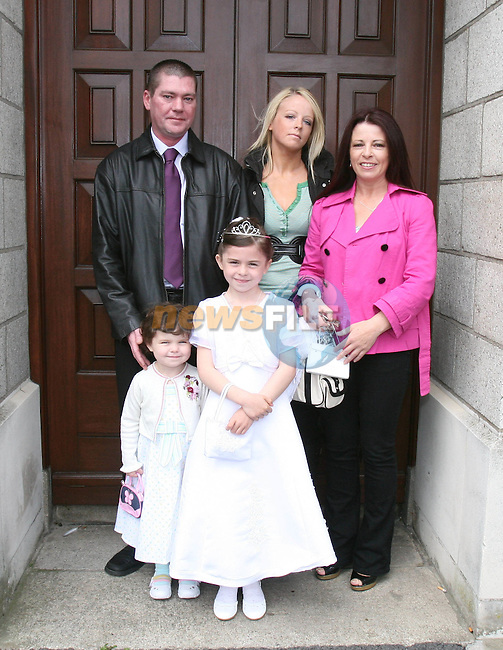 Lorna and Sophie Kinsella Gray, Brendan Gray, Sharon Kinsella and Mary Kinsella at St Brigid's NS Communion in the Lourdes Church....Photo NEWSFILE/Jenny Matthews.(Photo credit should read Jenny Matthews/NEWSFILE)....This Picture has been sent you under the condtions enclosed by:.Newsfile Ltd..The Studio,.Millmount Abbey,.Drogheda,.Co Meath..Ireland..Tel: +353(0)41-9871240.Fax: +353(0)41-9871260.GSM: +353(0)86-2500958.email: pictures@newsfile.ie.www.newsfile.ie.FTP: 193.120.102.198.