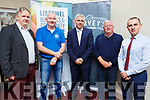At the launch of the Breakfast Briefing by the Listowel Business Alliance in the Horseshoe Bar on Tuesday. <br /> L-r, Michael McCarthy (McKenna&rsquo;s), John Griffin (John Griffin Butchers), Stephen Stack (Listowel Business and Community Alliance Chairperson), Jerry Behan (Horseshoe Bar and Restaurant) and Paul O&rsquo;Connor (Listowel Community and Business Alliance Retail Group).