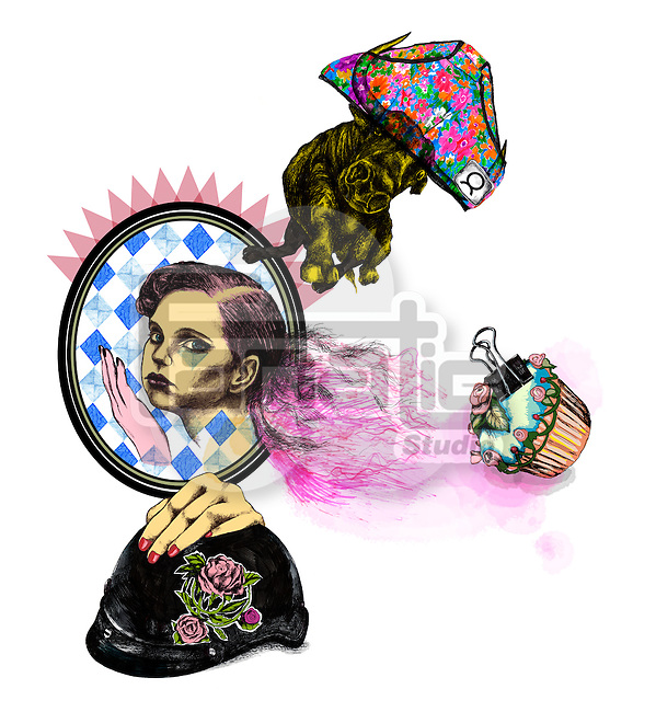 Illustrative image of woman with cup cake and helmet representing Taurus sign
