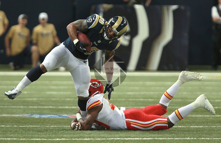 Rams TE Lance Kendricks (88) is tackled by Chiefs S Eric Berry (29) at the 2:39 mark of the first quarter, after Kendricks caught a short pass from QB Sam Bradford.