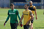 Getafe's David Soria (l) and Chema Rodriguez during training session. May 25,2020.(ALTERPHOTOS/Acero)