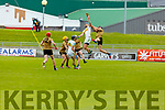 Kerry's James O'Connor and Sean Cleary of Offaly having a mid air battle in the Joe McDonagh Cup relegation game in Tralee on Saturday.