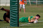 Drury firstfive Robert Dunning manages to get the ball across the line, near the posts, to score Drury's sixth try . Counties Manukau Premier Club Rugby Game of the Week between Drury & Papakura, played at Drury Domain on Saturday Aprill 11th, 2009..Drury won 35 - 3 after leading 15 - 5 at halftime.