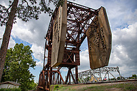 Bayou Plaquemine Railroad Bridge a retired Single leaf through truss with overhead counterweight bridge, very unique. Rail still used, but the lift bridge is no longer used.