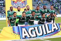 CALI - COLOMBIA -02-06-2016: Los jugadores de Deportivo Cali, posan para una foto durante partido de ida de los cuartos de final entre Deportivo Cali y Deportivo Independiente Medellin, por la Liga Aguila I-2016, jugado en el estadio Deportivo Cali (Palmaseca)  de la ciudad de Cali. / The Players of Deportivo Cali, pose for a photo during a match for the first leg of the quarter of finals between Deportivo Cali and Deportivo Independiente Medellin for the Liga Aguila I-2016 at the Deportivo Cali (Palmaseca) stadium in Cali city. Photo: VizzorImage  / Nelson Rios / Cont