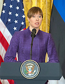 President Kersti Kaljulaid of Estonia responds to a reporter's question at a Joint Press Conference hosted by United States President Donald J. Trump with the other Baltic States Heads of Government, President Raimonds Vejonis of Latvia, and President Dalia Grybauskaite of Lithuania in the East Room of the White House in Washington, DC on Tuesday, April 3, 2018.<br /> Credit: Ron Sachs / CNP