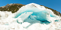 Blue ice cave in middle parts of Fox Glacier, Westland Tai Poutini National Park, West Coast, UNESCO World Heritage Area, New Zealand, NZ