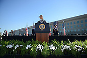 United States President Barack Obama speaks at the Pentagon to commemorate the 11th anniversary of the 9-11 attacks, on September, 11, 2012 in Arlington, Virginia..Credit: Olivier Douliery / Pool via CNP