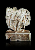 Roman Sebasteion relief  sculpture of Dionysus Drunk Aphrodisias Museum, Aphrodisias, Turkey.   Against a black background.<br /> <br /> A prancing woodland nymph leads drunken Dionysus who supports himself languidly on a small satyr. This is an image of Dionysian enjoyment and pleasure, hellenistic in style and fluently designed