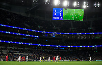 Scoreboard showing 2-7 in the final minute of injury time during the UEFA Champions League group match between Tottenham Hotspur and Bayern Munich at Wembley Stadium, London, England on 1 October 2019. Photo by Andy Rowland.