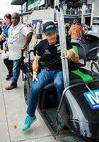 May 28, 2017; Indianapolis, IN, USA; Injured IndyCar Series driver Sebastian Bourdais with crutches prior to the 101st Running of the Indianapolis 500 at Indianapolis Motor Speedway. Mandatory Credit: Mark J. Rebilas-USA TODAY Sports