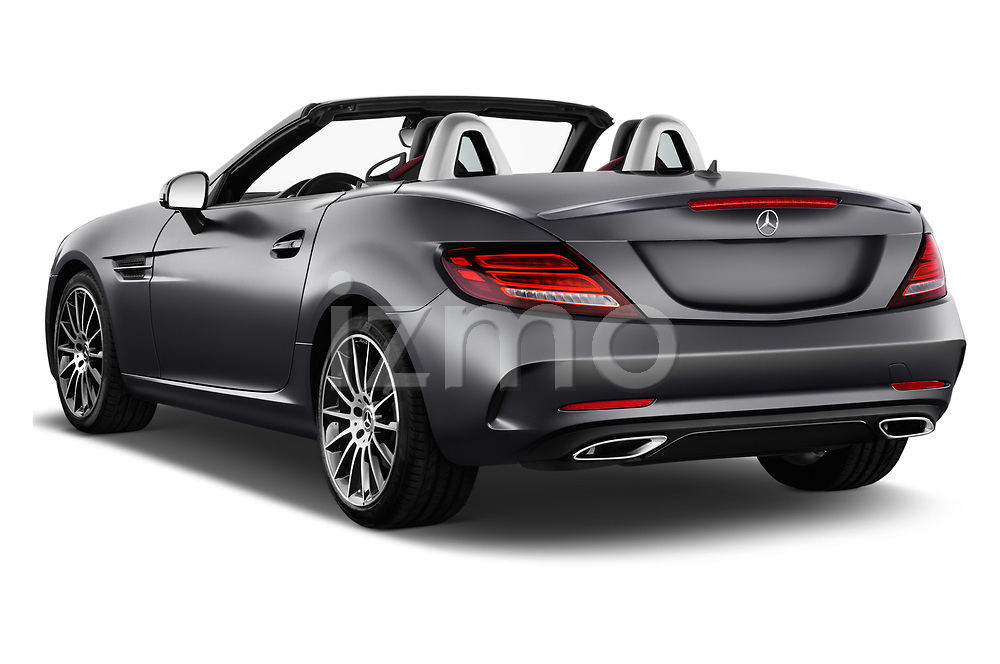 Car pictures of rear three quarter view of a 2018 Mercedes Benz SLC Sportline 2 Door Convertible angular rear