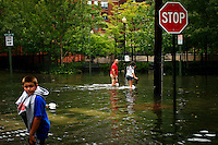 Huracaine Irene during its pass trough New York City and New Jersey August 2011. Hurricane Irene blew through the New York and New Jersey areas this past weekend leaving destruction and devastation in its path.  Irene hit the areas as a category 1 storm. It was downgraded to a tropical storm early Sunday morning and warnings for the area were lifted late Sunday. However, winds greater than 50 mph VIEWpress/ZZ