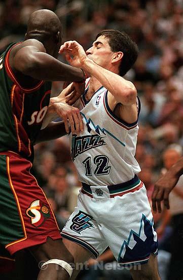 John Stockton sets a pick at Jazz vs. Seattle Supersonics. Jazz won.<br />