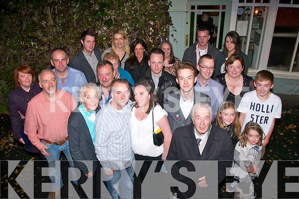 Richie Murray, Castlemaine, with his wife Noreen (front centre) on the occasion of his 50th birthday after dining in Cassidy's, Tralee last Saturday night surrounded by family and friends.