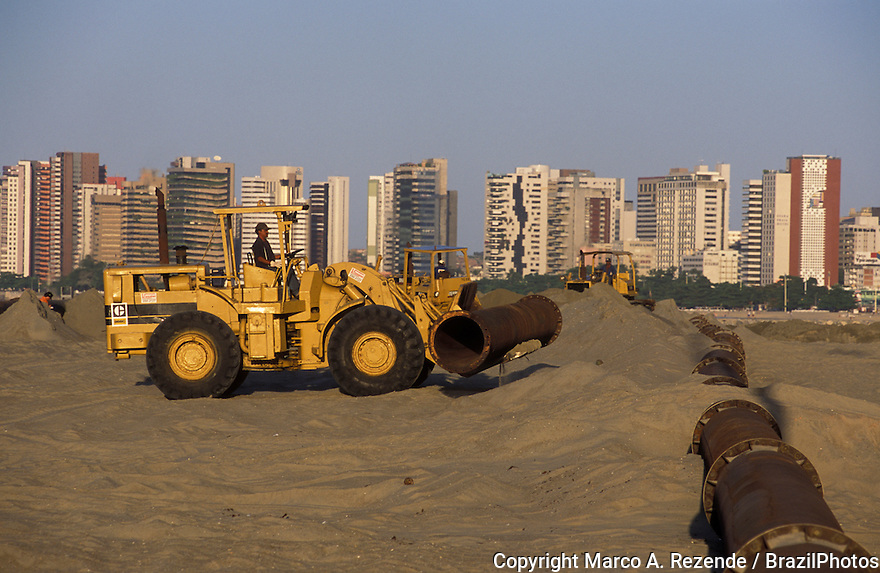 Construction of sewerage system, sanitation, Fortaleza, Ceara State, Brazil.