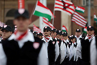 Members of the the far-right wing political party Jobbik take an oath during the inauguration ceremony of six hundred members. Members of the Guard will receive military training, according to its charter, on how to 'defend Hungary physically, morally and mentally'. Heroes Square in Budapest, Hungary on October 21, 2007. ATTILA VOLGYI