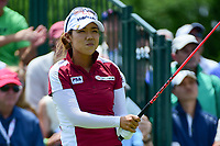 Jenny Shin (KOR) watches her tee shot on 1 during Saturday's third round of the 72nd U.S. Women's Open Championship, at Trump National Golf Club, Bedminster, New Jersey. 7/15/2017.<br /> Picture: Golffile | Ken Murray<br /> <br /> <br /> All photo usage must carry mandatory copyright credit (&copy; Golffile | Ken Murray)