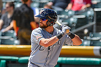 Ryan Schimpf (3) of the El Paso Chihuahuas at bat against the Salt Lake Bees in Pacific Coast League action at Smith's Ballpark on April 24, 2016 in Salt Lake City, Utah. This was Game 1 of a double-header.  El Paso defeated Salt Lake 7-0. (Stephen Smith/Four Seam Images)