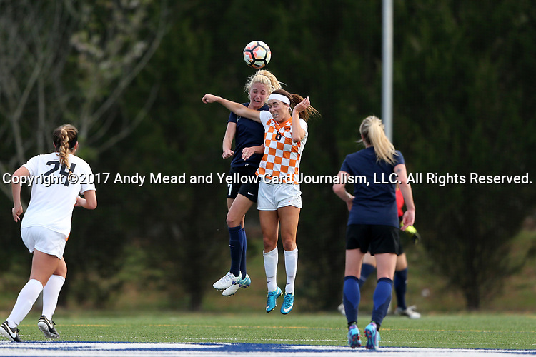 CHARLOTTE, NC - MARCH 25: Tennessee's Ariel Kupritz (6) and Courage's Courtney Niemiec (17) challenge for a header. The NWSL's North Carolina Courage played their first preseason game against the University of Tennessee Volunteers on March 25, 2017, at Queens University of Charlotte Sports Complex in Charlotte, NC. The Courage won the match 3-0.