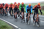 Roompot-Charles with race leader Jesper Asselman (NED) in Blue Jersey on the front of the peloton during Stage 3 of the 2019 Tour de Yorkshire, running 132km from Brindlington to Scarborough, Yorkshire, England. 4th May 2019.<br /> Picture: ASO/SWPix | Cyclefile<br /> <br /> All photos usage must carry mandatory copyright credit (&copy; Cyclefile | ASO/SWPix)