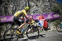 Chris Froome (GBR/SKY) up the Lacets du Grand Colombier (Cat1/891m/8.4km/7.6%)<br /> <br /> stage 15: Bourg-en-Bresse to Culoz (160km)<br /> 103rd Tour de France 2016