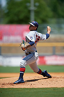 Jacksonville Jumbo Shrimp starting pitcher Jordan Yamamoto (23) during a Southern League game against the Mississippi Braves on May 5, 2019 at Trustmark Park in Pearl, Mississippi.  Mississippi defeated Jacksonville 1-0 in ten innings.  (Mike Janes/Four Seam Images)