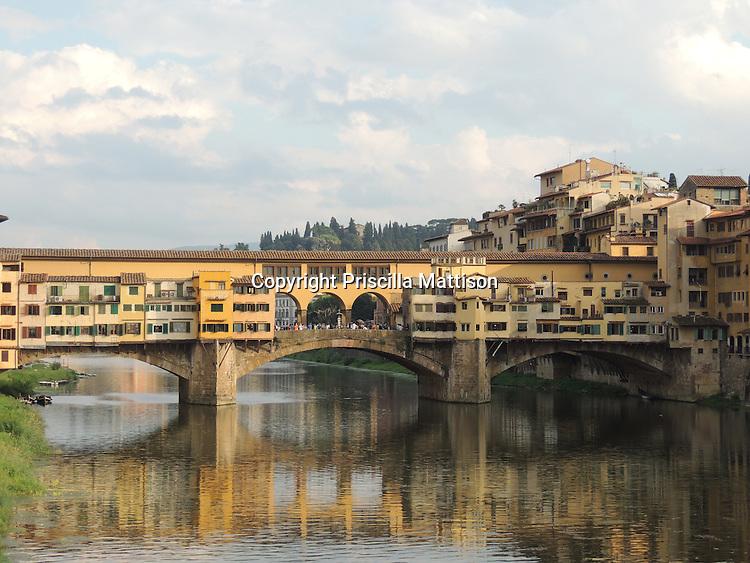 The Ponte Vecchio crosses into the Oltrarno quarter in Florence.