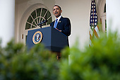 United States President Barack Obama makes remarks at an Earth Day reception in the Rose Garden at the White House in Washington, D.C., U.S., on Thursday, April 22, 2010. .Credit: Brendan Hoffman - Pool via CNP