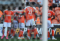 Blackpool's CJ Hamilton celebrates scoring the opening goal with team-mates<br /> <br /> Photographer Kevin Barnes/CameraSport<br /> <br /> The EFL Sky Bet League One - Blackpool v Swindon Town - Saturday 19th September 2020 - Bloomfield Road - Blackpool<br /> <br /> World Copyright © 2020 CameraSport. All rights reserved. 43 Linden Ave. Countesthorpe. Leicester. England. LE8 5PG - Tel: +44 (0) 116 277 4147 - admin@camerasport.com - www.camerasport.com