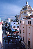 The Balboa Theater in foreground. San Diego:  Panoramic view of San Diego downtown with Hotel St. James in background. Photo Jan. 1987.