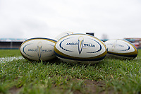 A general view of Anglo-Welsh Cup branded balls. Anglo-Welsh Cup Final, between Bath Rugby and Exeter Chiefs on March 30, 2018 at Kingsholm Stadium in Gloucester, England. Photo by: Patrick Khachfe / Onside Images