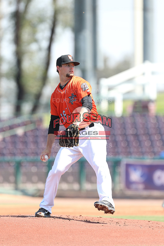 Garrett Nuss (16) of the Inland Empire 66ers pitches during a game against the Stockton Ports at The Hanger on April 11, 2015 in Lancaster, California. San Jose defeated Lancaster, 8-3. (Larry Goren/Four Seam Images)