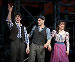 Ben Frankhauser, Jeremy Jordan & Kara Lindsay.during the 'NEWSIES' Opening Night Curtain Call at the Nederlander Theatre in New York on 3/29/2012