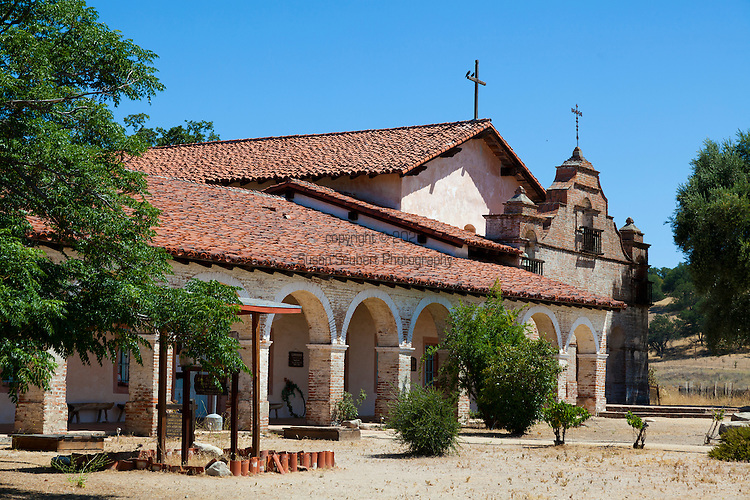 """Mission San Antonio de Padua, located on eighty acres on what was once the Milpitas unit of the sprawling Hearst Ranch, Mission San Antonio de Padua sits within the """"Valley of the Oaks"""" on California's scenic Central Coast, Jolon, CA"""