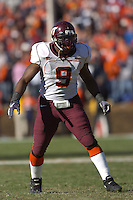 19 November 2005:Vince Hall (9).The Virginia Tech Hokies defeated the Virginia Cavaliers 52-14 for the Commonwealth Cup at Scott Stadium in Charlottesville, VA.