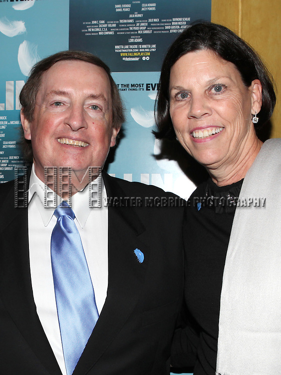Producer Terry Schnuck & wife Sally attending the Off-Broadway Opening Night Performance After Party for 'Falling' at Knickerbocker Bar & Grill on October 15, 2012 in New York City.