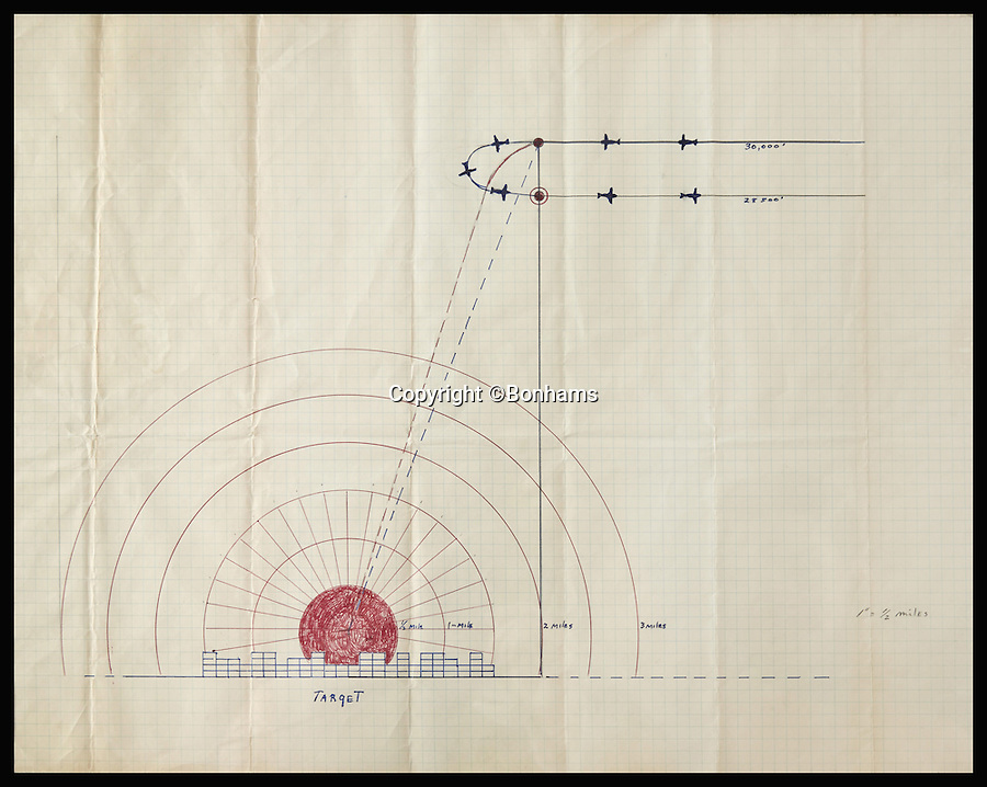 BNPS.co.uk (01202 558833)<br /> Pic: Bonhams/BNPS<br /> <br /> *Please use full byline*<br /> <br /> Lot 289:  Capt. Lewis' manuscript bombing plan for Hiroshima. Expected to sell for &pound;13,000-20,000.<br /> <br /> Never-seen-before diagrams used to plan and execute the dropping of the world's first atomic bomb on Japan in a bid to end WWII have emerged for sale 70 years after the historic mission.<br /> <br /> The simple hand-drawn bombing plans detail exactly how and when the crew of the Enola Gay B29 bomber were to unleash their deadly payload over the port city of Hiroshima on August 6, 1945.<br /> <br /> The previously unseen documents are among a &pound;300,000 archive of material compiled by Captain Robert Lewis, co-pilot of the Enola Gay, which also includes his flight logs and report of the bombing raid.