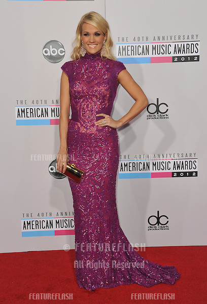 Carrie Underwood at the 40th Anniversary American Music Awards at the Nokia Theatre LA Live..November 18, 2012  Los Angeles, CA.Picture: Paul Smith / Featureflash