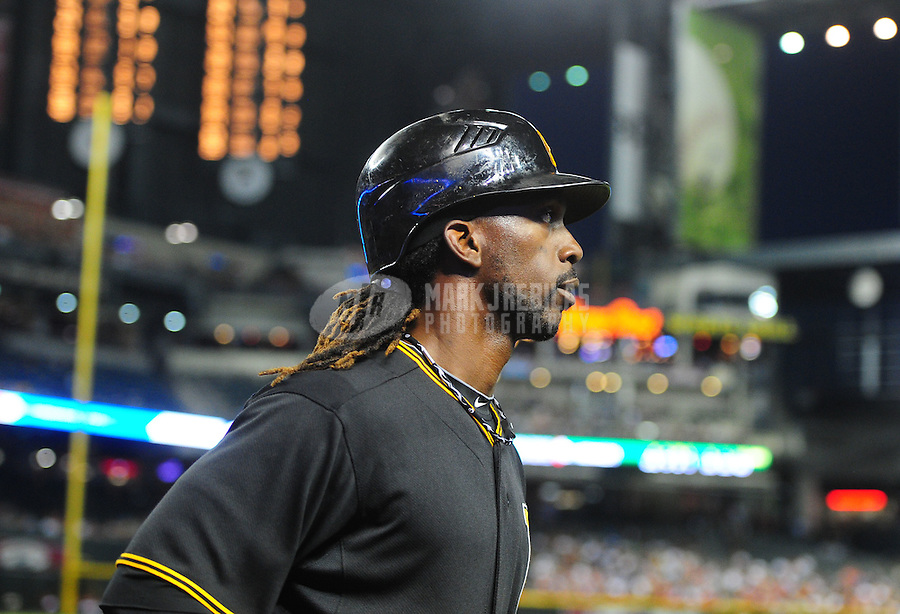 Apr. 17, 2012; Phoenix, AZ, USA; Pittsburgh Pirates outfielder (22) Andrew McCutchen against the Arizona Diamondbacks at Chase Field. Mandatory Credit: Mark J. Rebilas-