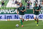 01.09.2019, wohninvest WESERSTADION, Bremen, GER, 1.FBL, Werder Bremen vs FC Augsburg<br /> <br /> DFL REGULATIONS PROHIBIT ANY USE OF PHOTOGRAPHS AS IMAGE SEQUENCES AND/OR QUASI-VIDEO.<br /> <br /> im Bild / picture shows<br /> Michael Lang (Neuzugang Werder Bremen #04) beim Aufwärmen, <br /> Niklas Moisander (Werder Bremen #18), <br /> <br /> Foto © nordphoto / Ewert