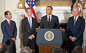 United States President Barack Obama announces his nomination of current Housing and Urban Development (HUD) Secretary Shaun Donovan as Office of Management and Budget (OMB) Director and his nomination of San Antonio Mayor Julián Castro to replace him at HUD in the State Dining Room of the White House in Washington, D.C. on Friday, May 23, 2014. From left to right: Mayor Castro, Secretary Donovan, President Obama, and U.S. Vice President Joe Biden.<br /> Credit: Ron Sachs / Pool via CNP