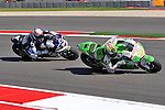 Randy De Puniet (14) and Alvaro Bautista (19) in action during the Red Bull MotoGP of the Americas practice session at Circuit of the Americas racetrack in Austin,Texas. ..