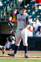 June 21, 2009:  Left Fielder Jeff Frazier of the Toledo Mud Hens reacts after popping up a bunt during a game at Frontier Field in Rochester, NY.  The Toledo Mud Hens are the International League Triple-A affiliate of the Detroit Tigers.  Photo by:  Mike Janes/Four Seam Images