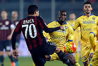 Carlos Bacca  and Mobido Diakite  during   Italian Serie A soccer match between Frosinone and AC Milan  at Matusa  Stadium in Frosinone ,December 20  , 2015