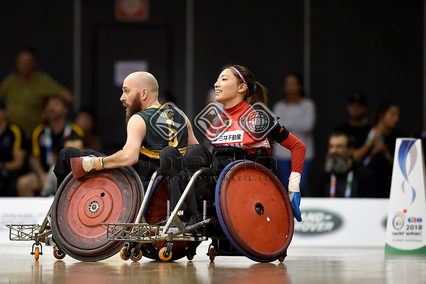 Michael Ozanne (AUS) vs Japan<br /> Australian Wheelchair Rugby Team<br /> 2018 IWRF WheelChair Rugby <br /> World Championship / Finals<br /> Sydney  NSW Australia<br /> Friday 10th August 2018<br /> © Sport the library / Jeff Crow / APC