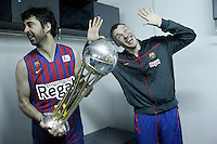 FC Barcelona Regal's Juan Carlos Navarro (l) and Sarunas Jasikevicius celebrate the victory in the Spanish Basketball King's Cup Final match.February 07,2013. (ALTERPHOTOS/Acero)