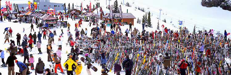Skis and Snowboards leaning against Racks at the Roundhouse Lodge on Whistler Mountain, Whistler Ski Resort, BC, British Columbia, Canada - Panoramic View