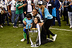 Keylor Navas of Real Madrid celebrate the winning of the Champions League during the UEFA Champions League Final match between Real Madrid and Juventus at the National Stadium of Wales, Cardiff, Wales on 3 June 2017. Photo by Giuseppe Maffia.<br /> <br /> Giuseppe Maffia/UK Sports Pics Ltd/Alterphotos